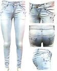 LADIES STYLISH DIAMANTE & SEQUIN LIGHT WASHED STRETCHED SKINNY JEANS SIZE UK6-14