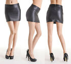 Women's Black Sexy Stretch Faux Leather Tights Mini Skirt Pencil Dress Bodycorn