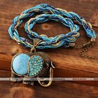 Fashion Vintage Millet Chain Cute Crystal Elephant Pendant Necklace Jewelry