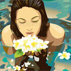 Poster / Leinwandbild swimming flowers - illustration spa