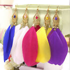 Fashion Colorful Feather Acrylic Beads Gold Dangle Eardrop Earrings Hook Jewelry