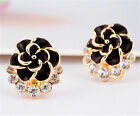 Fashion Flowers Crystal Gold Plated Stud Pierced Earrings Jewelry Accessories