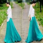 New Women Lady Sexy Graceful Elastic Waist Dress Chiffon Long Maxi Skirt  M L