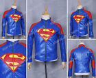 Superman Smallville Cosplay Costume Halloween Blue Leather Coat Jacket Red S
