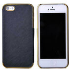 New Synthetic Leather Chrome Hard Back Case Cover For Apple iPhone 5 5S