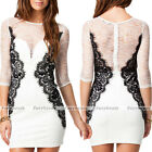 Sexy Women Black White Lace Patchwork Half Sleeve Cocktail Party Slim Mini Dress