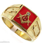 Mens Masonic Mason Red Background Gold Plated Stainless Steel Ring