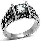 Mens 1.35ct Simulated Diamond Silver Stainless Steel Ring On Sale