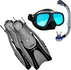 HINGEFLEX + ANTI GLARE + DRY TOP Silicon ADULT Set Mask Fins flipper Snorkel Set
