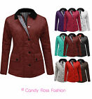 Jacket New Women Quilted Padded Button Zip Coat Plus Size 10-22