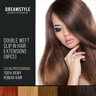 Clip In Remy Human Hair Extensions Double Weft All Colours