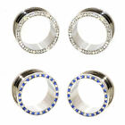 Value Pack 2 PAIRS Clear Blue Blended Crystals Silver Steel Flesh Tunnels Plugs