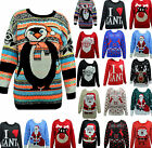 Womens Ladies Christmas Xmas Retro Top Pullover Sweater Jumper  Size S/M, M/L