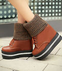 Sweet Womens Wedge High Heel Woolen Round Toe Winter Ankle Boots Gothic Shoes