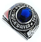 Mens Professional Truck Driver Dark Blue Stone Rhodium Plated Ring