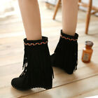 Women Wedge Tassel Slip On Winter Warm Faux Suede Ankle Boots Shoes Lovey Girls