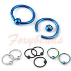 10p Stainless Steel Hoop Ear Nose Lip Eyebrow Captive Ball Bead Ring 16G Gift