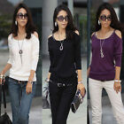 Korean Women Autumn Casual Slim Strap Long Sleeve Crew Neck Tops Blouse T-shirt