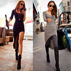 Hot Women Slim Fit Split Long Sleeve Bodycon Asymmetric Hem Club Maxi Long Dress