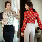 Fashion Women Party Chiffon Tops Long Sleeve Blouse Polka Dot Ruffle Shirt S-XL