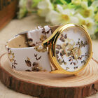Women Geneva Flower Watches Girls Floral  Print Round Dial Wristwatch Student