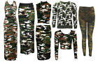 NEW WOMENS GREEN BROWN CAMOUFLAGE PRINT LEGGINGS DRESS TOP SKIRT SIZE 8-18
