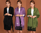 Free Shipping Solid  Women's Fashion Silk Pashmina Shawl Scarf Wrap Many Colors