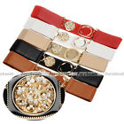 Fashion Women Rhinestone Buckle Wide Elastic Stretch Cinch Waist Belt 5 Colors