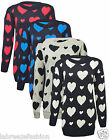 WOMENS LADIES CHRISTMAS XMAS WINTER HEARTS PRINT SWEATER JUMPER TOP PLUS SIZE 26