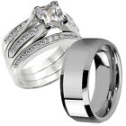 Hers CZ Princess Sterling Silver His Stainless Steel Wedd...
