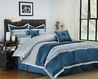 Carrington 7 Piece Blue & Silver Comforter Bedding Bedroom Set Bed in a Bag