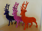 Gisela Graham Retro Flocked Reindeer Christmas Ornament 40cms Red/Mauve/Pink