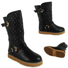 NEW WOMENS LADIES BUCKLE QUILTED MID-CALF FLAT WARM WINTER FUR BOOTS SHOES SIZE