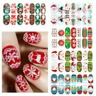 'Glow in Dark' 14pcs Christmas Nail Art Foils Patch Polish Stickers Decals Wrap