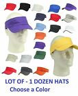 1 DOZEN Visors Sun Hats Sports Caps Plain Golf Tennis Adjustable Mens Womens NEW