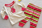 GYMBOREE GYMMIES Girl's Pink Ice Skating Heart Monster Stripe Pajamas Size 6