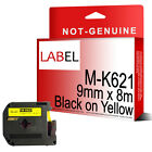 Black on Yellow Label Tape 9mm x 8m M-K621 for Compatible Brother MK-621 P-Touch