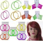 NEON HOOP EARRINGS 80'S FANCY DRESS TUTU PARTY