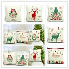 Retro Cute Christmas Design Cushion Cover Cotton Throw Pillow Case Home Decor CB