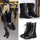 New Women's Winter Warm Low-heeled Snow Boots Martin Boot Black Combat Boots Hot