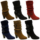 WOMENS LADIES WINTER SNOW BIKER KNEE MID HEEL BUCKLE ZIP CALF KNITTED BOOTS SIZE