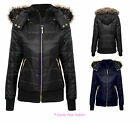 LADIES NEW FUR HOODED GOLD ZIP QUILTED VINTAGE BOMBER JACKET COAT SIZES 8-14