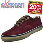 Sperry Top Sider Mens Striper CVO Suede Leather Trainers Burgundy AUTHENTIC