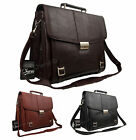 High Quality Faux Leather Business Satchel Bag Work Briefcase Black Brown Tan