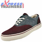 Sperry Top Sider Mens Striper CVO Wool Textile Trainers Burgundy * AUTHENTIC *