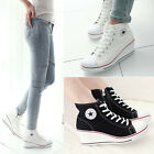 Causal Womens Lace Up High Top Wedge Heel Canvas Shoes Sneakers Star 4.5-8