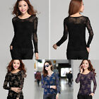 Fashion Stylish Women Vintage Long Sleeve Sheer Tops Lace T Shirt Floral Blouse