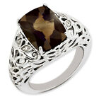New .925 Fine Sterling Silver Rectangle Smoky Quartz & Diamond Ring  Choose Size