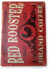 """TIN SIGN """"Coffee Red Rooster"""" Metal Decor Art Kitchen Store Bar A296"""