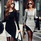 New Women's Irregular Hem Long Sleeve Show Slim Dress Color Block UnderSkirts